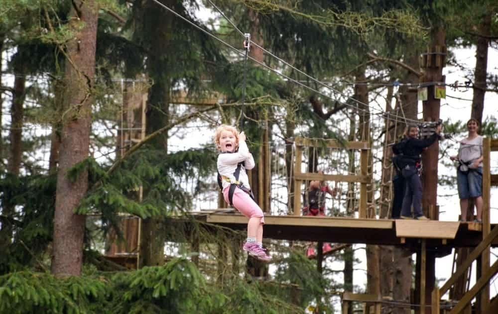 Child on zip wire at Go Ape Haldon Forest