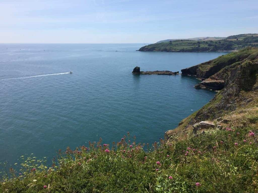 View of blue sky and sea from the cliffs of Berry Head near Brixham in Devon