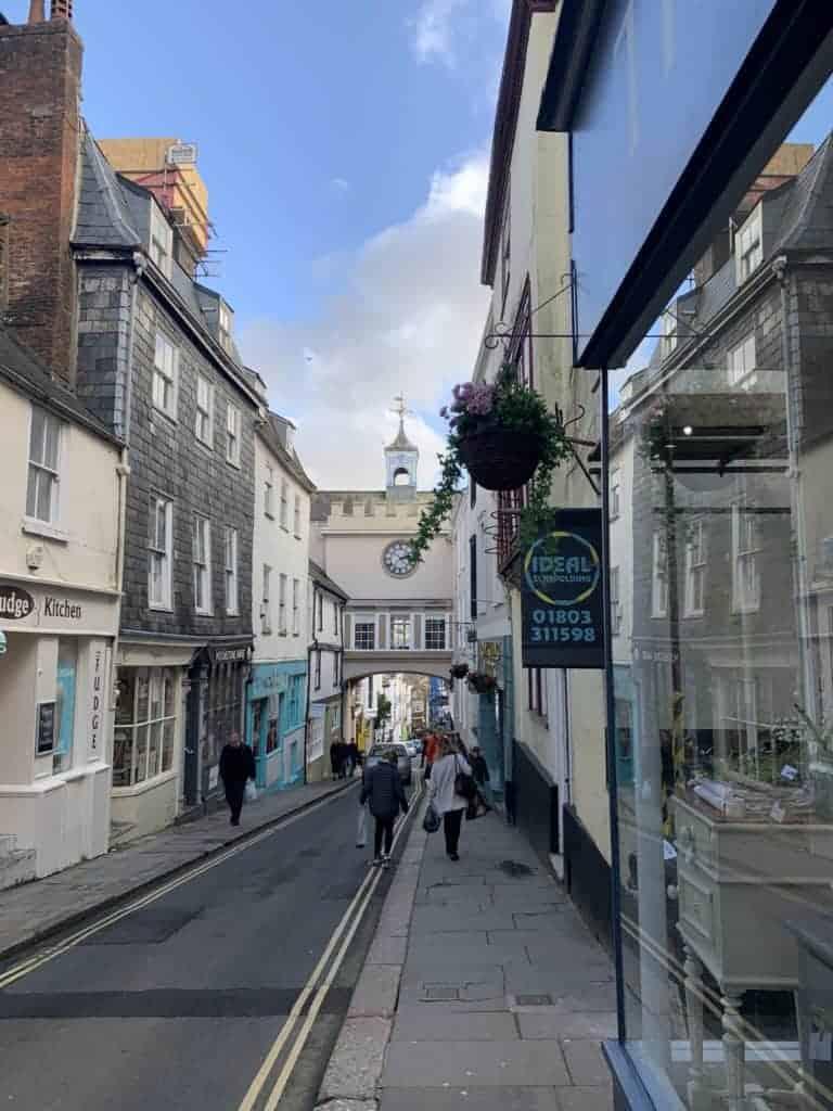 Totnes High Street - a pretty town to visit in Devon