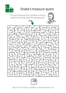 Sir Francis Drake themed puzzle sheet with maze