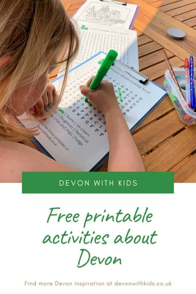 If you live in Devon or have a trip planned here check out these Devon-themed printable activities for kids. Pick from colouring, word searches & quizzes #printable #activities #wordsearch #colouring #travelblog #kids #home #print #quiz #Devon #England #UK #fun #DevonwithKids