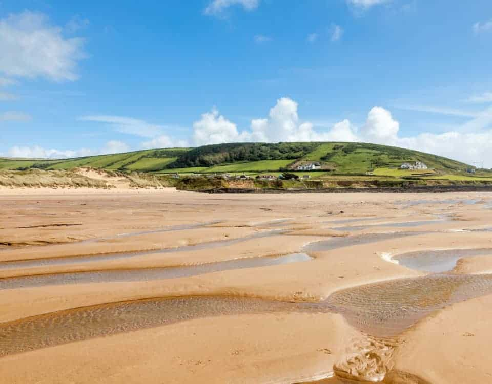 Beautiful golden sandy beach at Croyde - a North Devon beach in England UK