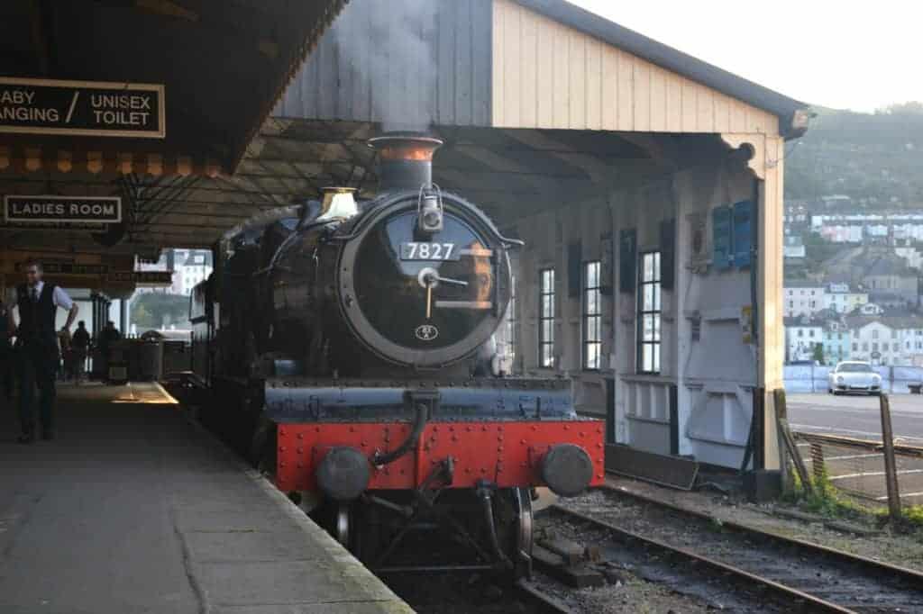 Steam train in Kingswear Station in South Devon