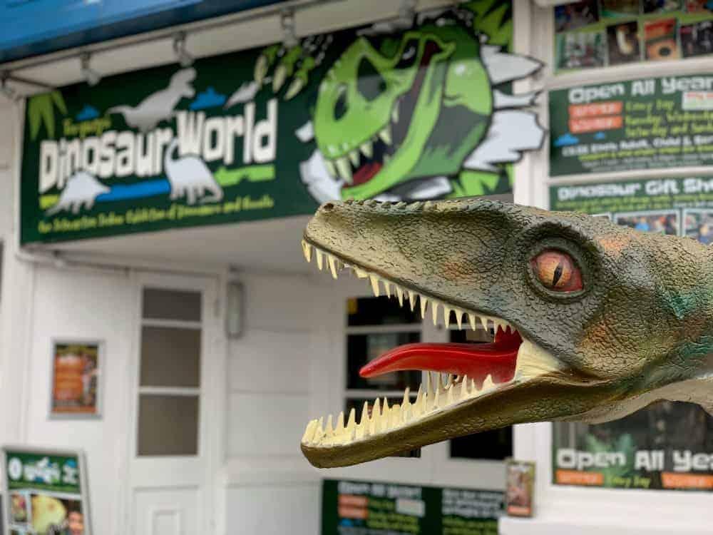 Dinosaur stats outside Dinosaur World in Torquay
