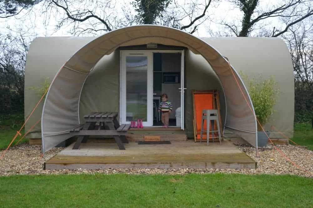 Glamping pod at Oakdown Holiday Park in Devon, England