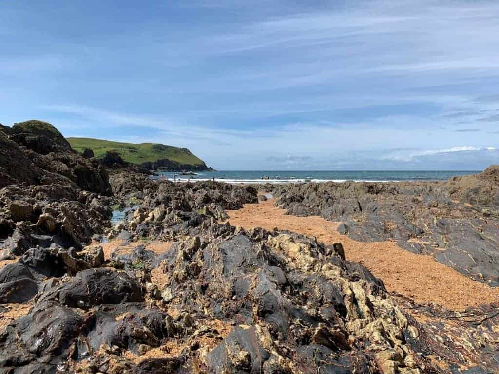 Rocks exploded at low tide at Hope Cove