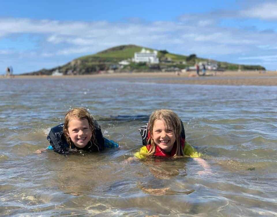 Children swimming in lagoon pool at Bigbury on Sea