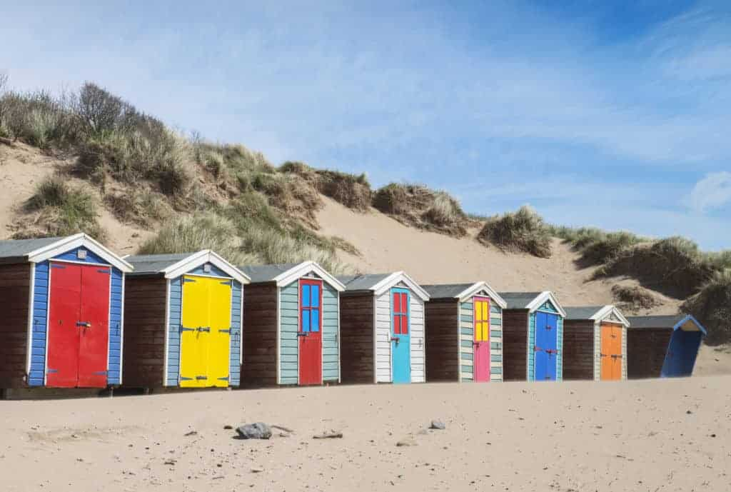 Beach Huts at Saunton Sands, Devon, UK.