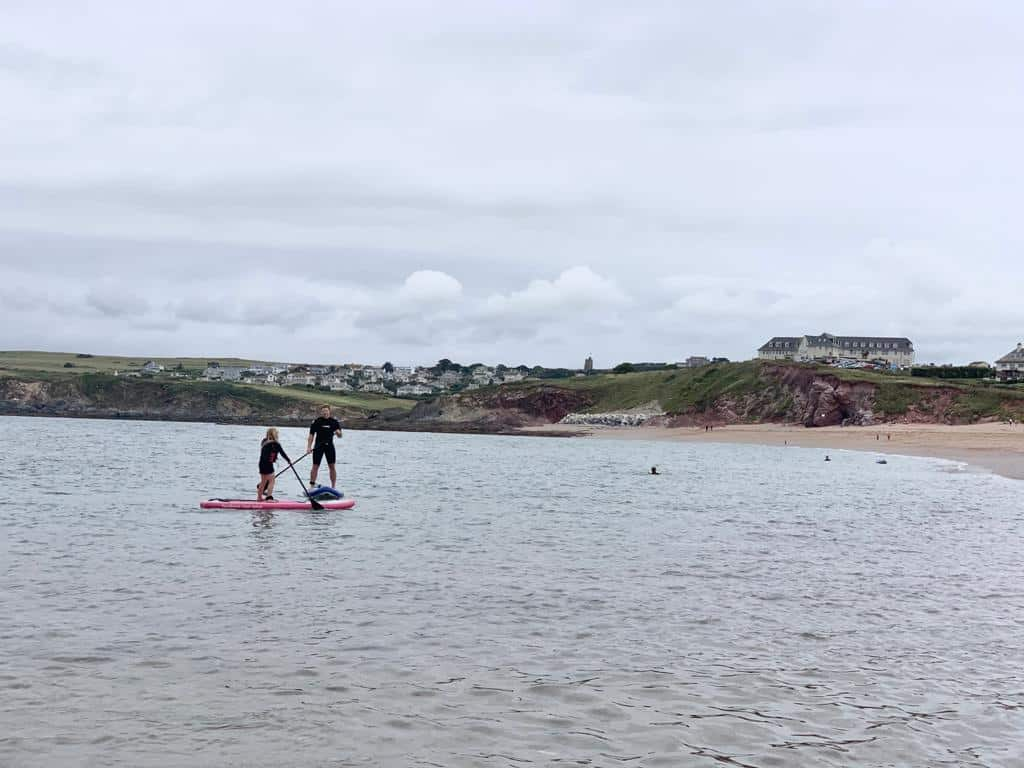Paddle boarding at South Milton Beach in South Devon