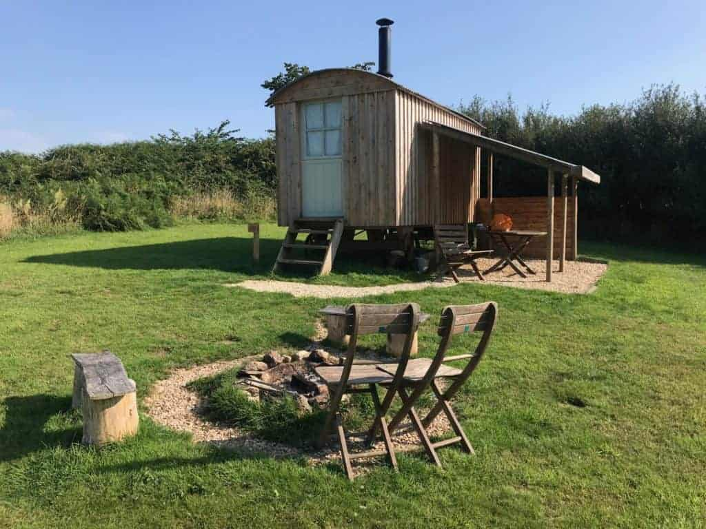 Shepherds hut style camping in Devon at Strawfields