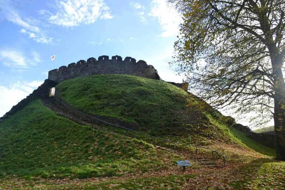 View of Totnes Castle in Autumn