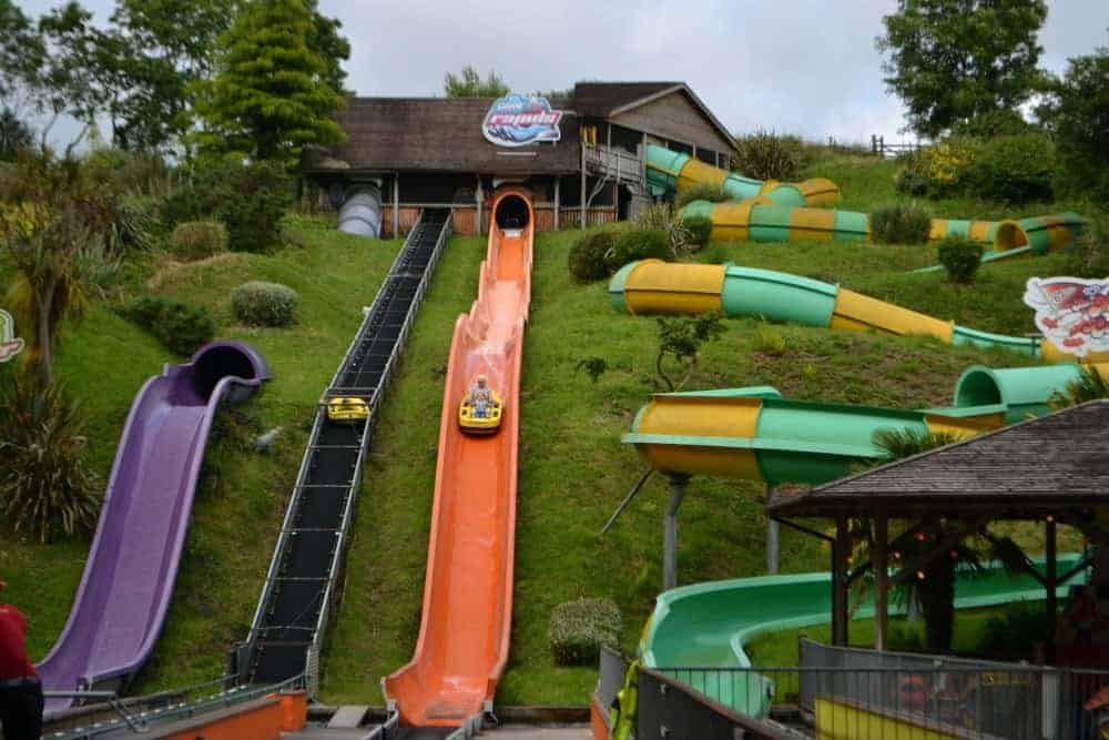 Watercoaster rides at Woodlands Family Adventure Park in South Devon