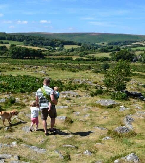 Family on a Dartmoor walk