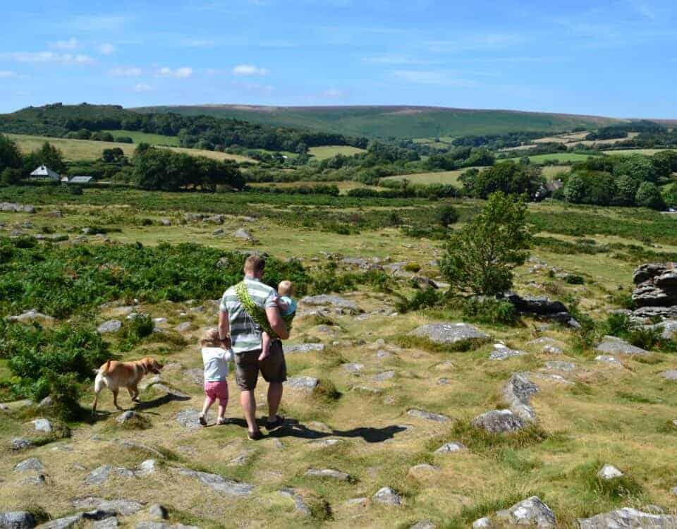 Family on a Dartmoor walk