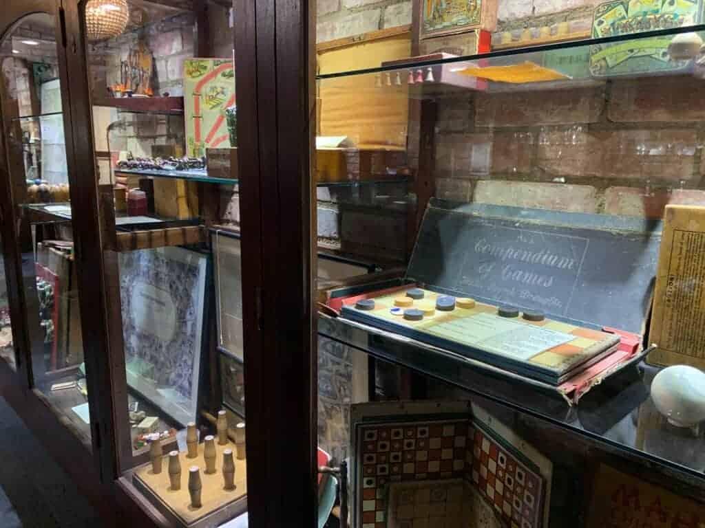 Vintage games in cabinet