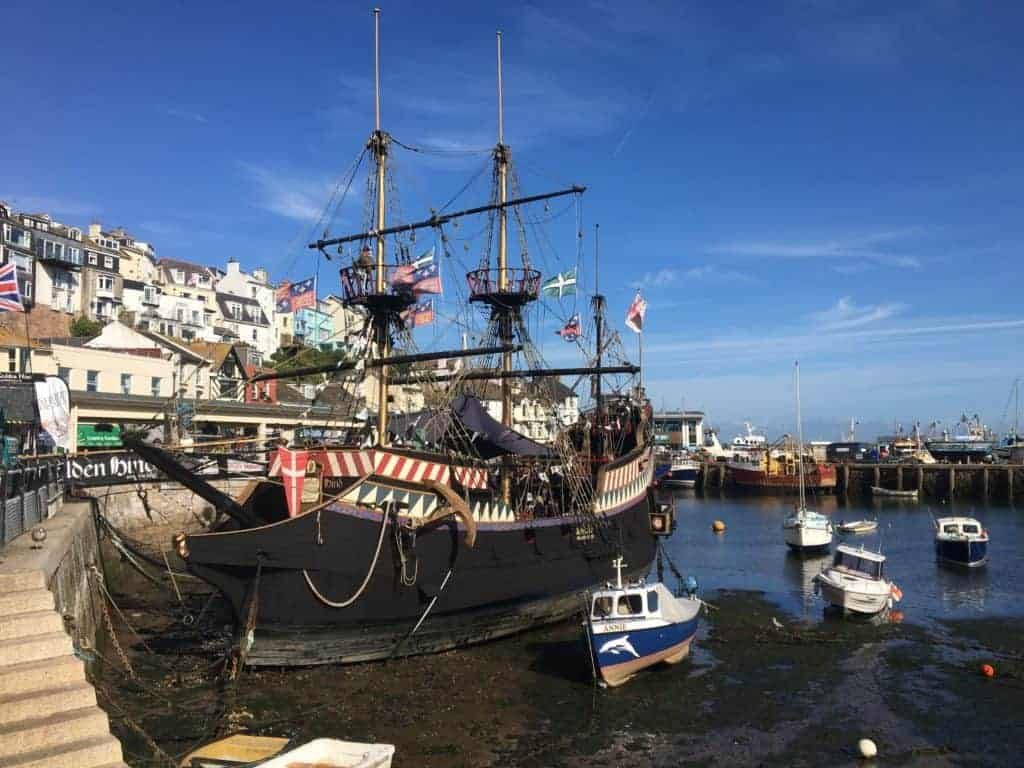 Golden Hind replica ship in a dry harbour in Brixham, Devon