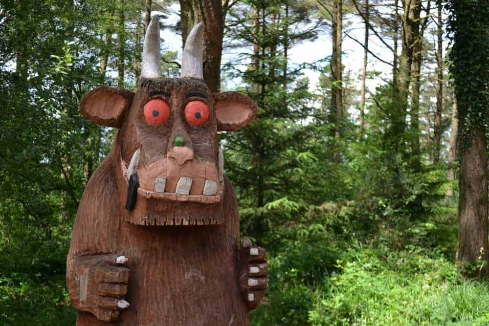 Gruffalo statue in Haldon Forest Park on Dartmoor in Devon