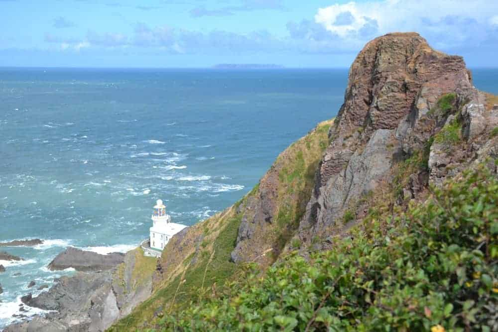 Hartland Point and Lighthouse looking out to Lundy Island in the Atlantic sea off North Devon