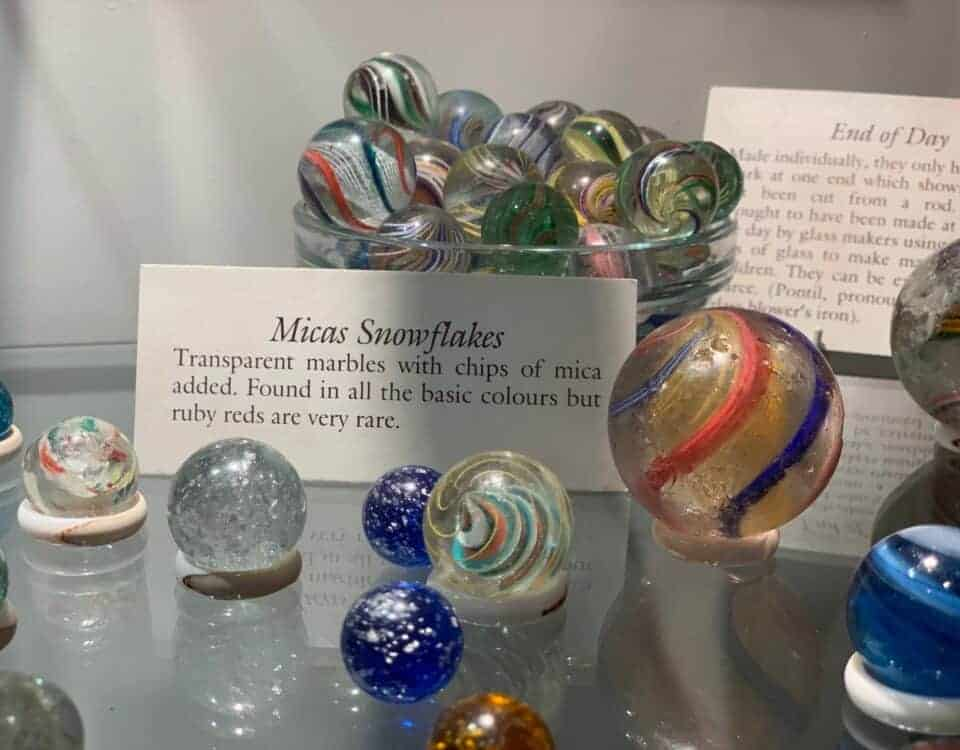 Rare marbles in cabinet