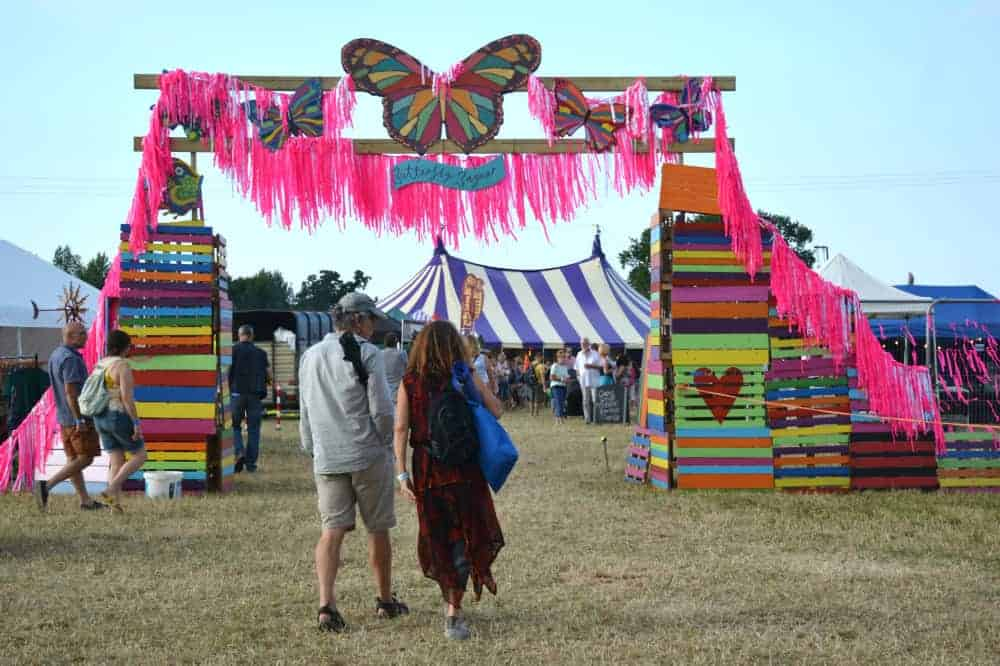 Butterfly Bazaar entrance at Glas-Denbury festival in Devon in July