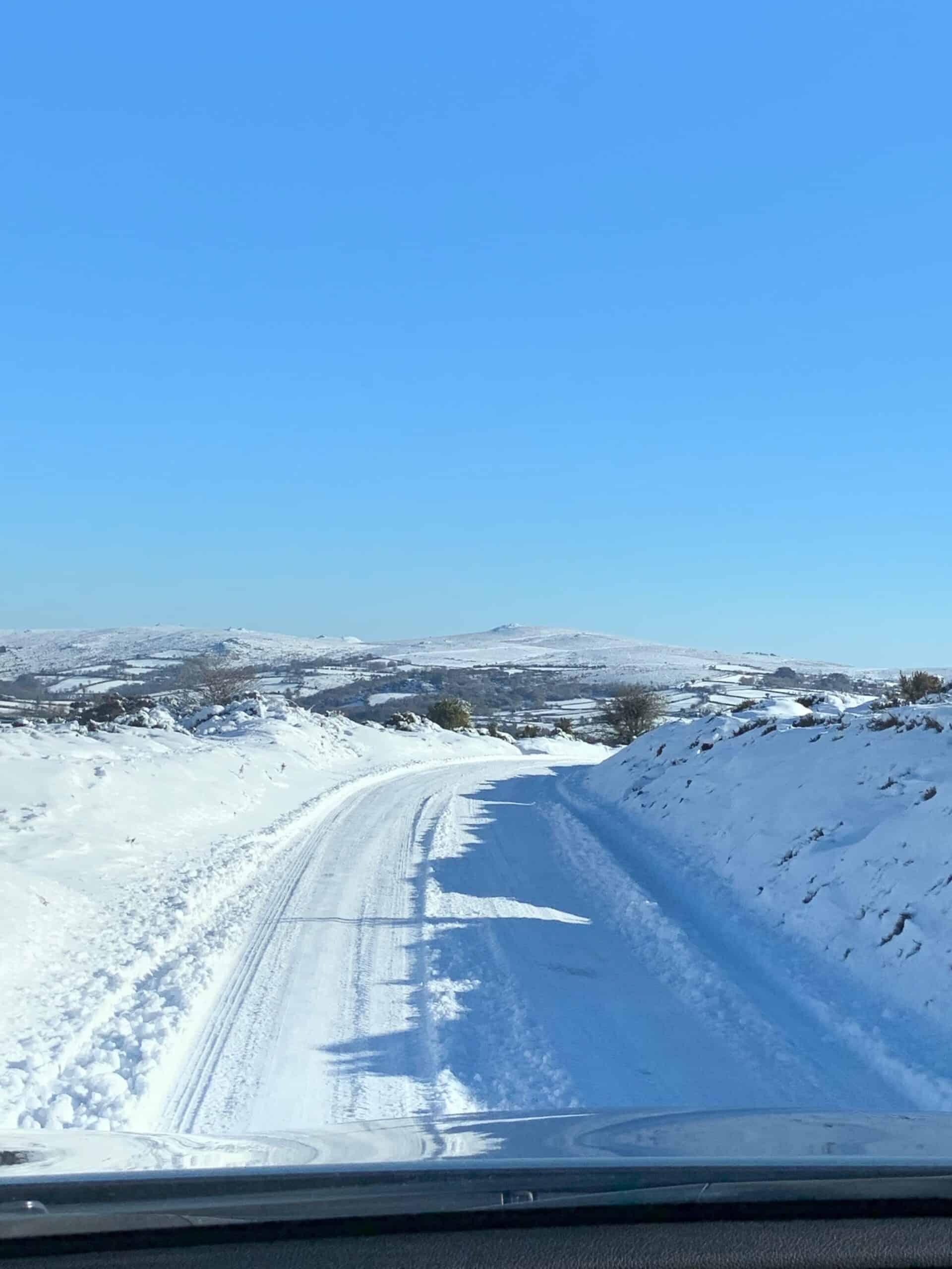Snowy road on Dartmoor in Devon