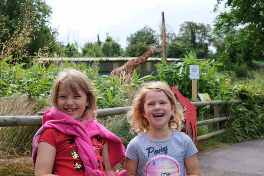 Children with giraffe at Paignton Zoo in South Devon