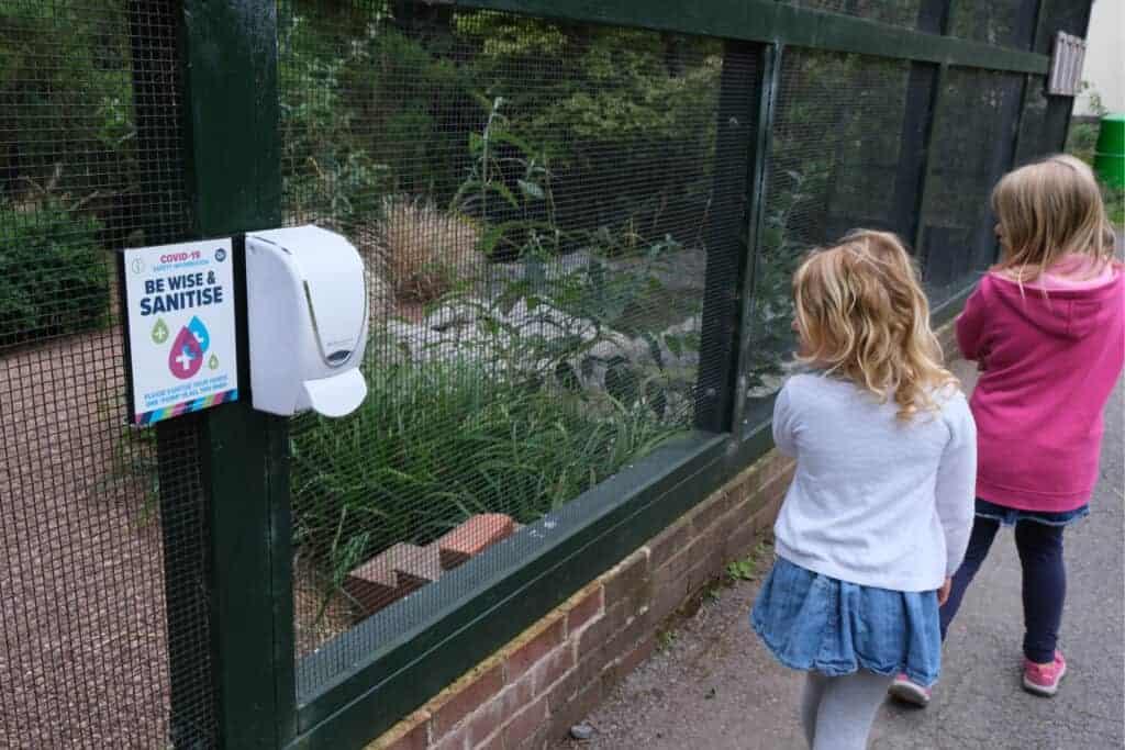 Hand sanitiser outside enclosure