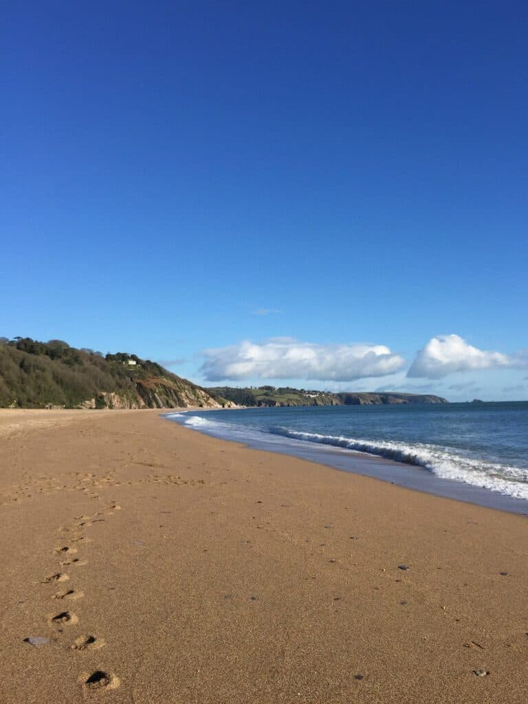 View of Slapton Sands and Strete Beach in South Devon