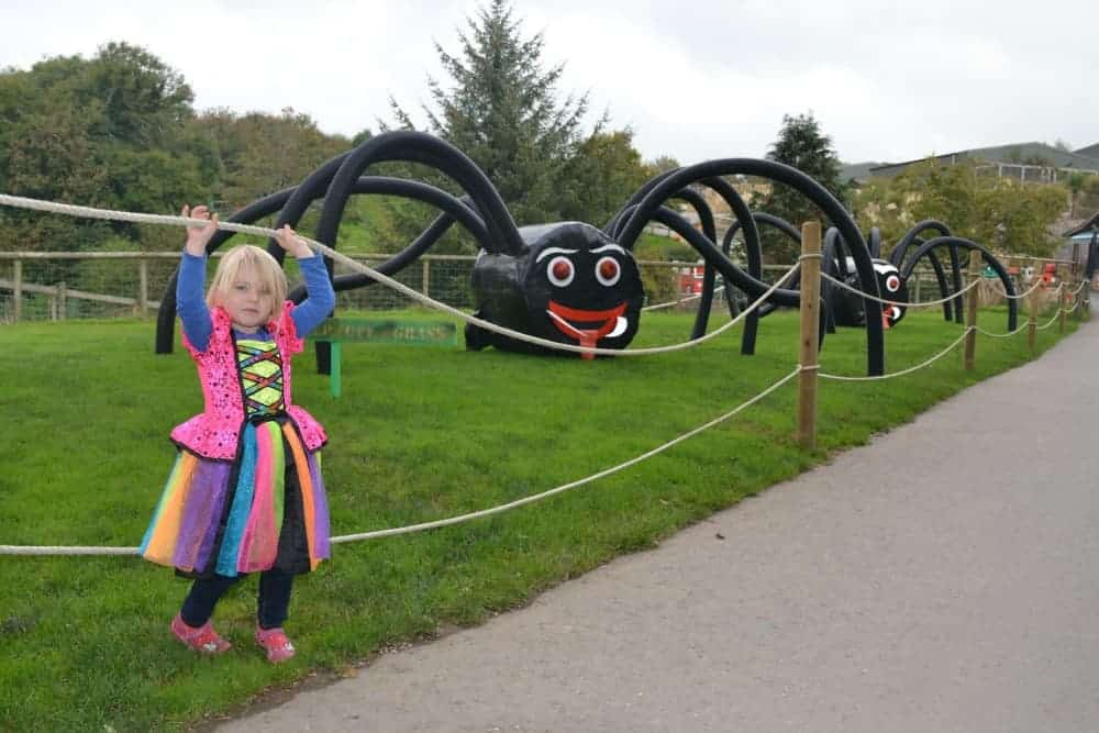 Child in witches outfit with spiders made of hay bales