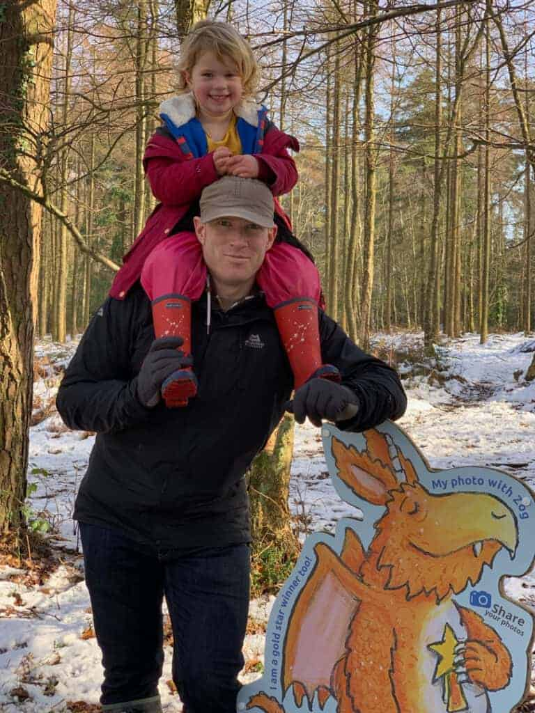Father and daughter doing the Zoo Trail at Haldon Forest Park in Devon