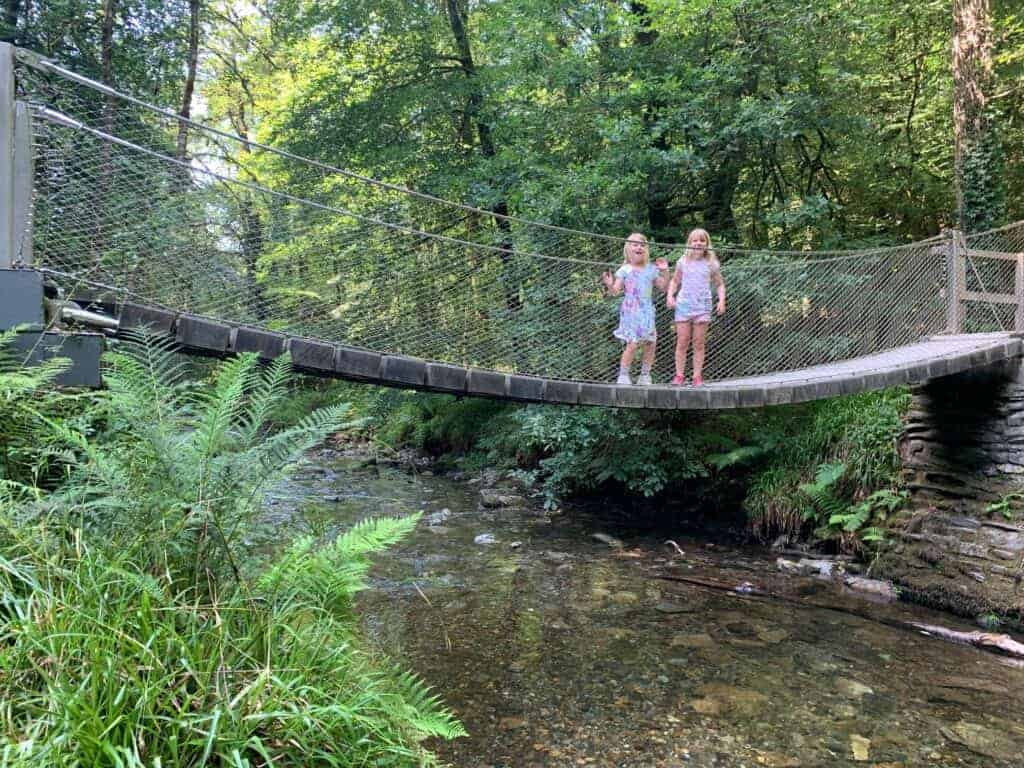 Children standing on bridge at Whitelady Falls in Lydford Gorge