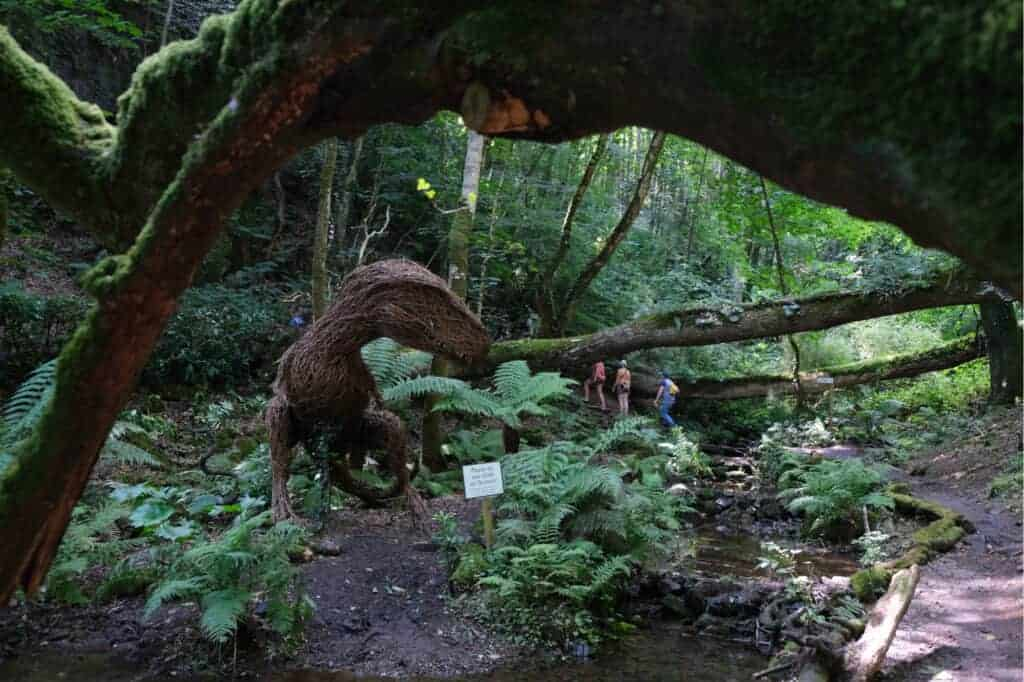 Terence the dinosaur model in Victorian Fern Garden