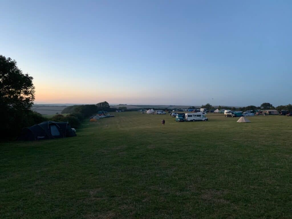 Sunset over Wilton Farm camping field