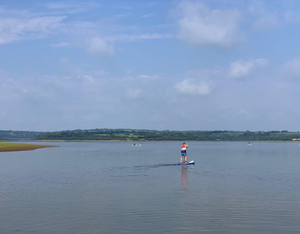 Paddling across Roadford Lake