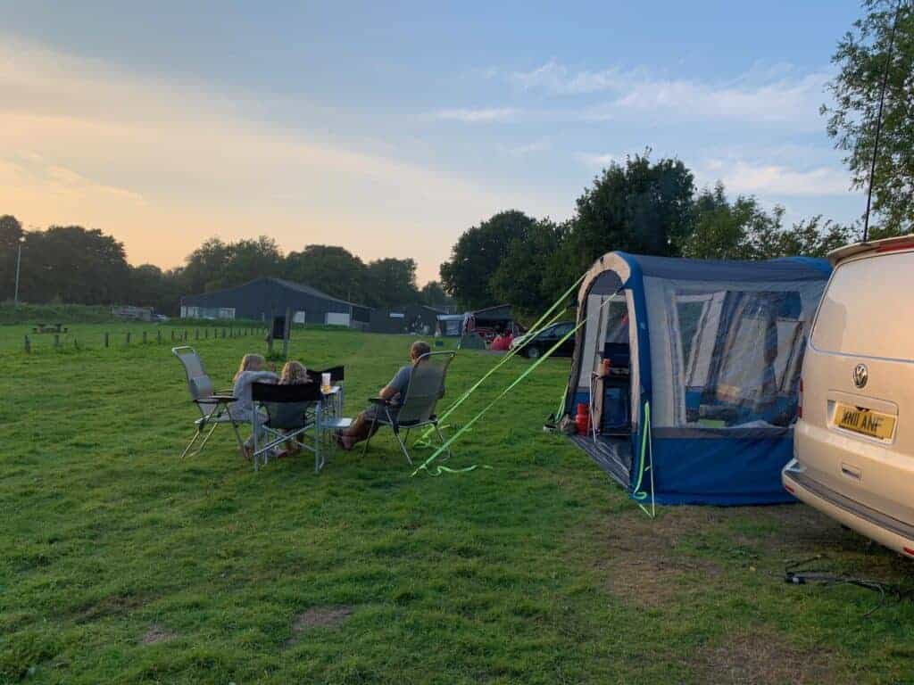Camper van pitched on campsite at Roadford Lake