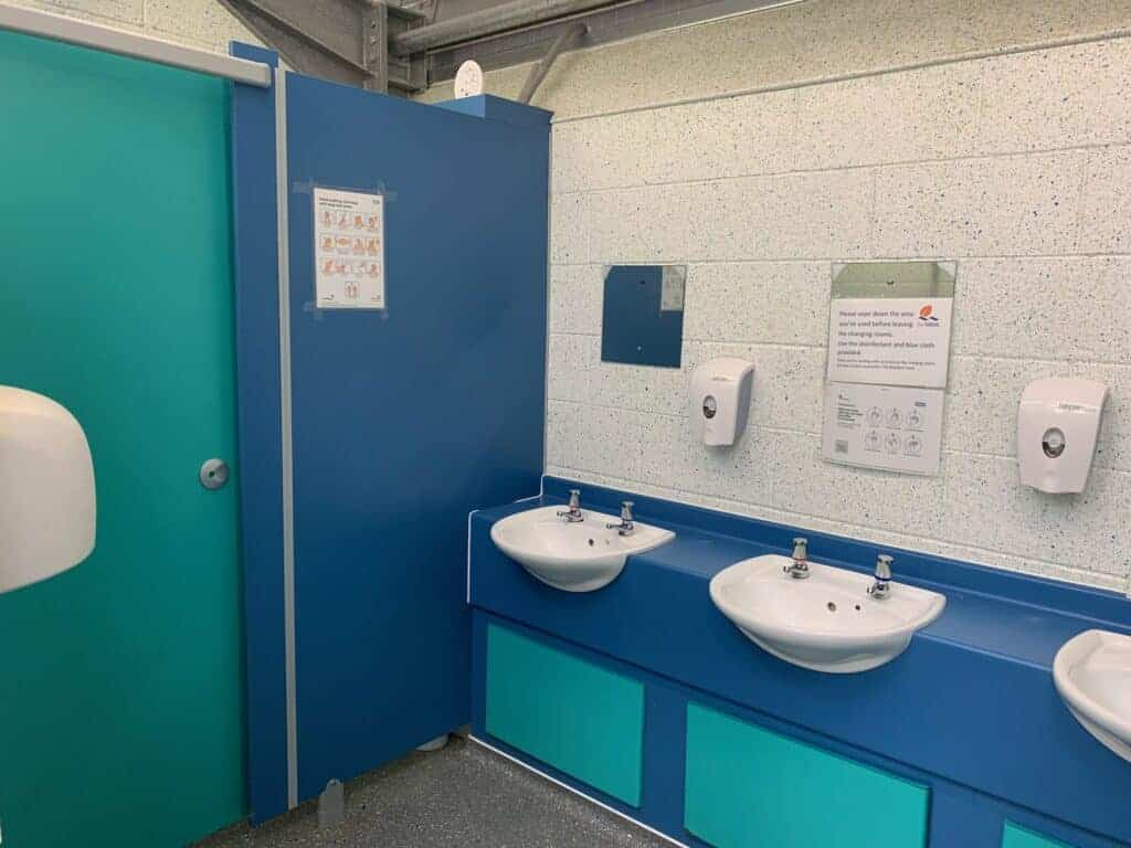 Sinks and toilet area in Roadford Lake activity centre changing rooms