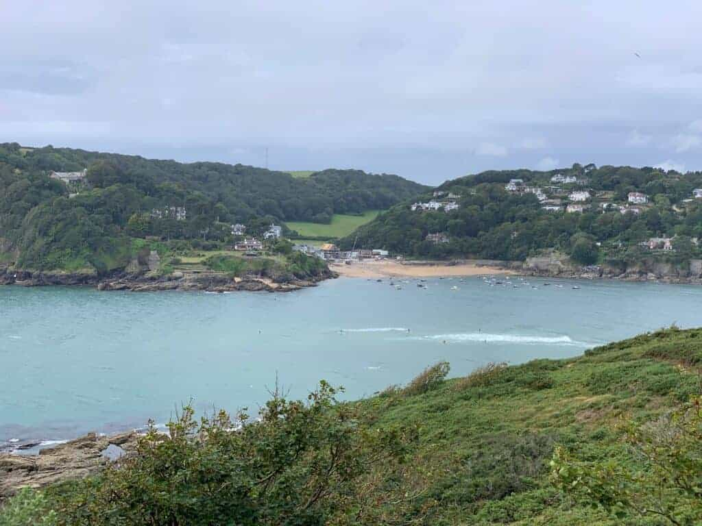 View of Salcombe South Sands from walk between Gara Rock and Mill Bay in South Devon
