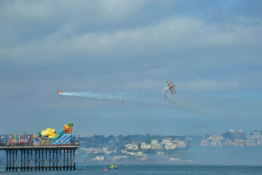 Stunt planes flying over Paignton Pier