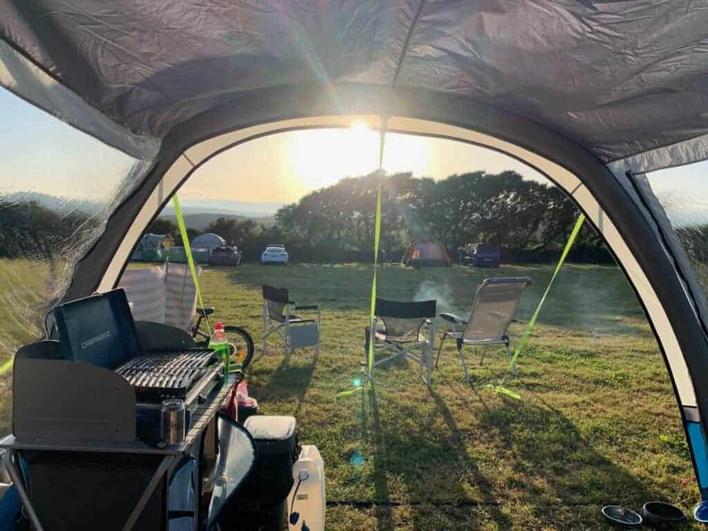 Sunset view out of camper van awning