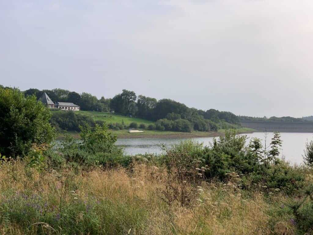 View across lake to Roadford Visitor Centre