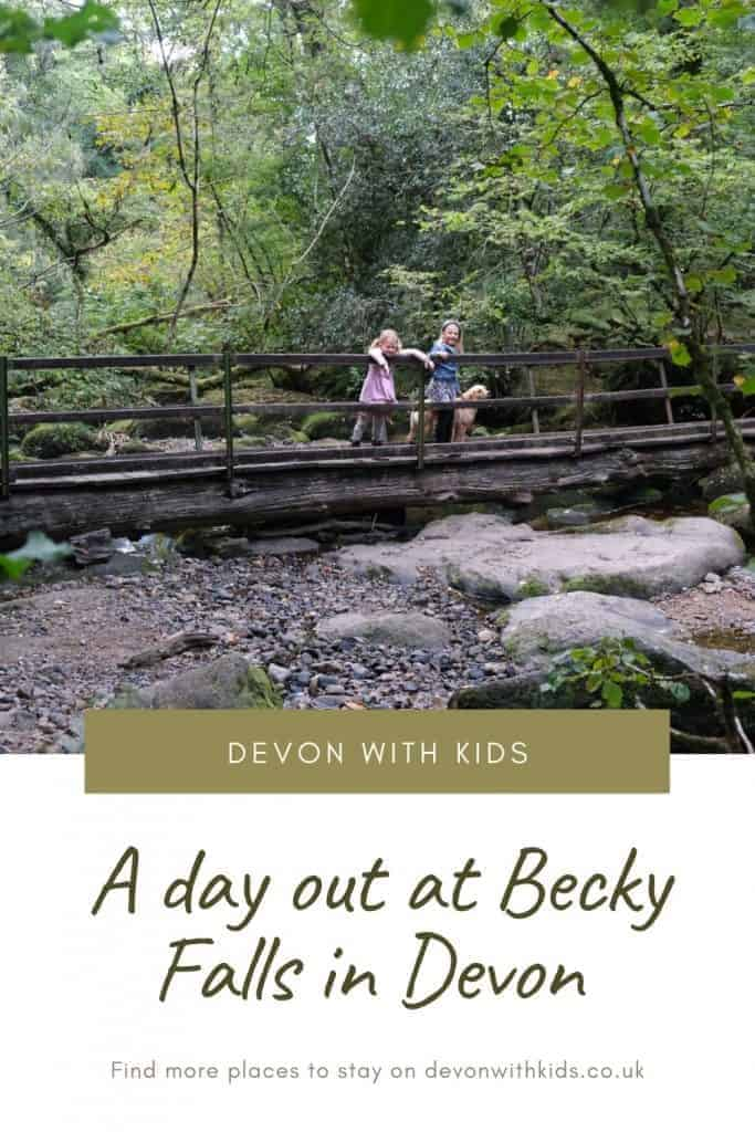 Becky Falls in Devon is a fun and sometimes challenging walk to do in Dartmoor National Park. Here's what you need to know about visiting with kids #Dartmoor #Devon #SouthDevon #SouthWest #England #UK #waterfall #walk #NationalPark #travelblog #DevonwithKids #dayout #getoutdoors #hike #family