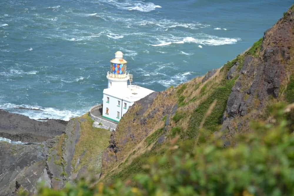 Hartland Point and Lighthouse against ocean background