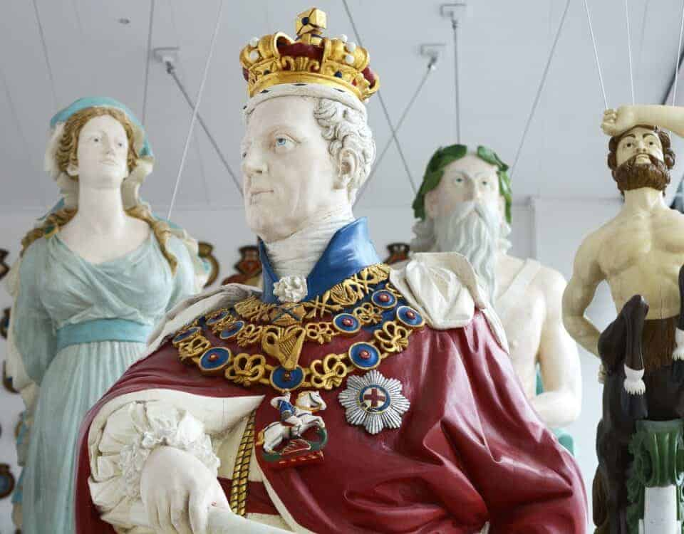 Ships figureheads at the Box Museum in Plymouth, Devon.