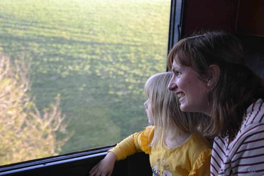 Mum and child in carriage of steam train - Dartmouth Steam Railway