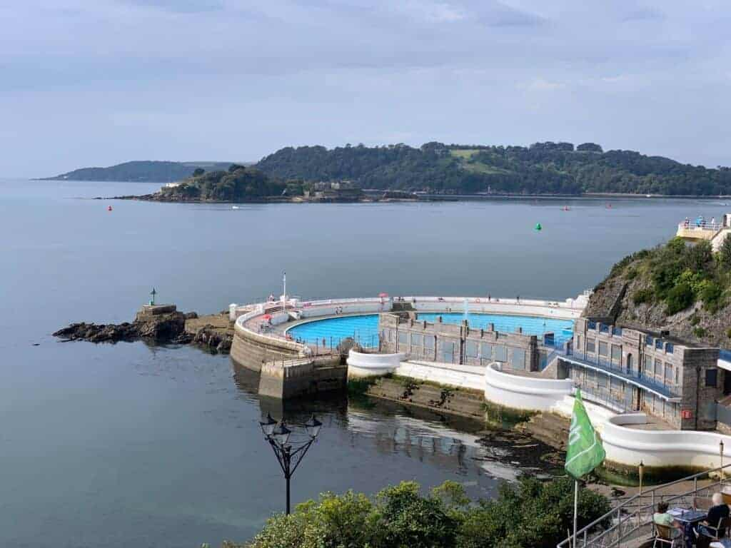 View of Tinside Lido on the seafront in Plymouth
