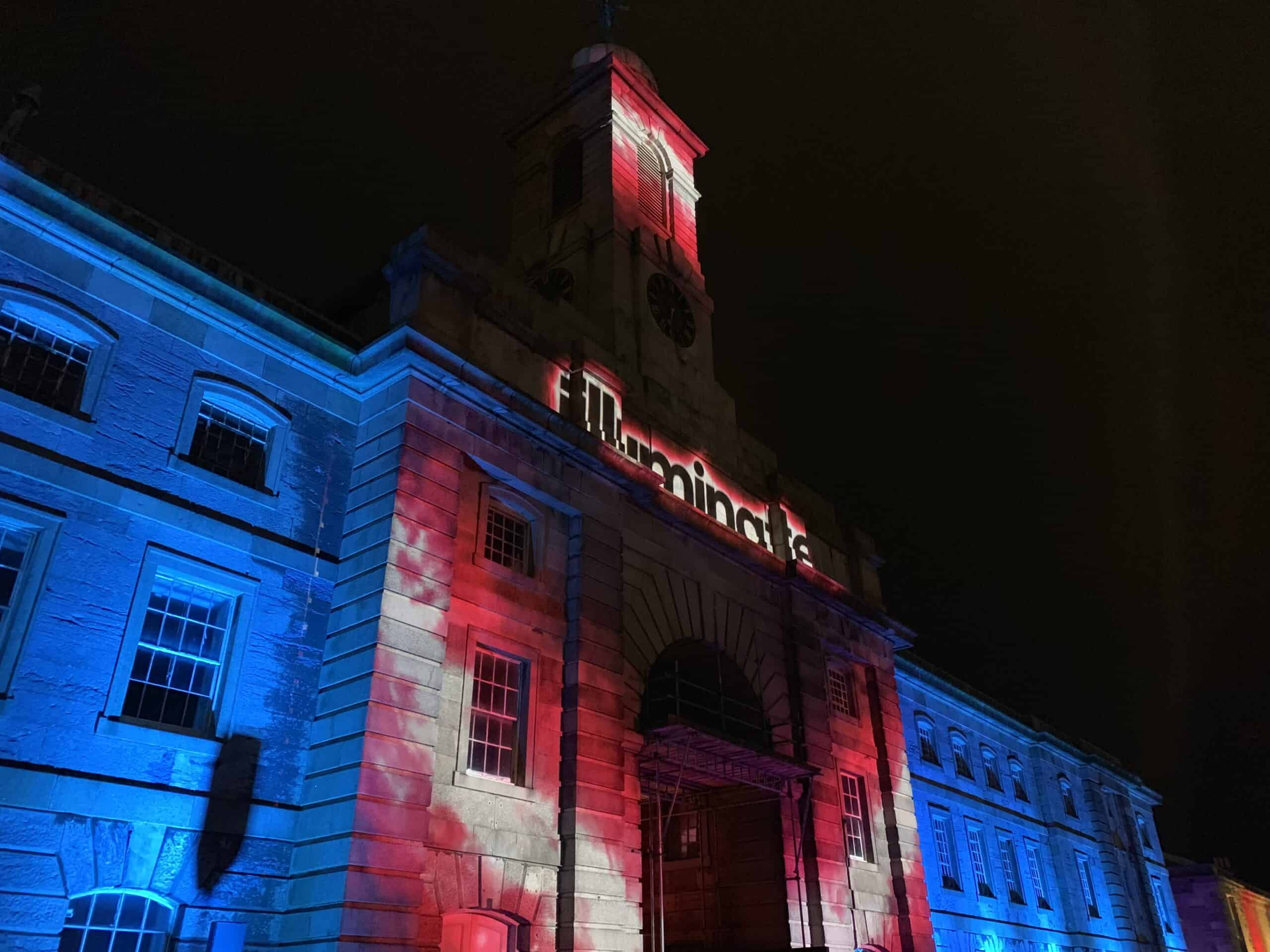 Tower at Royal William Yard lit up during the Illuminate event in Plymouth