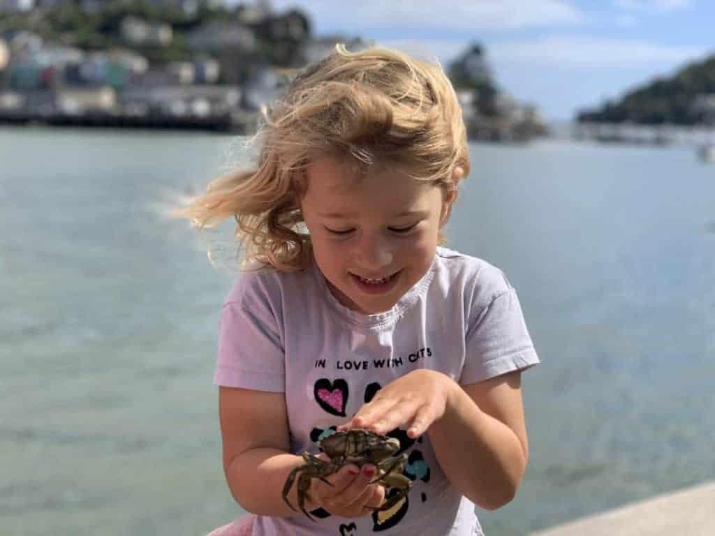 Child holding crab in South Devon