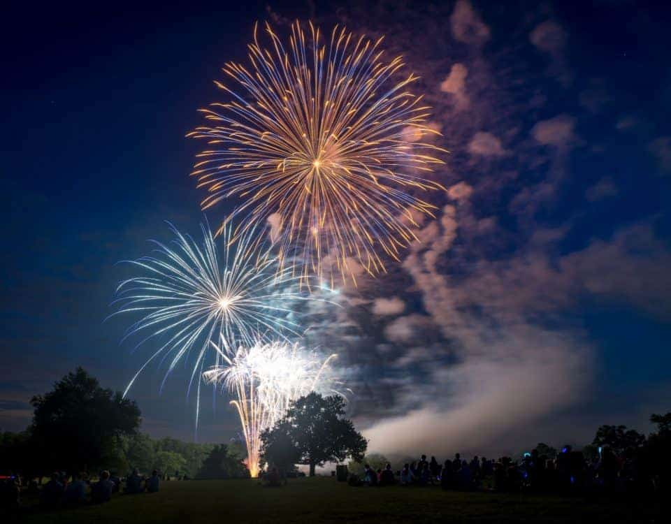 Firework display in countryside