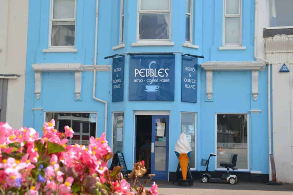 Front of Pebbles Coffee House in Seaton, East Devon