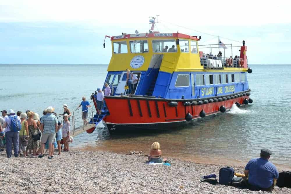 Stuart Line Cruises Pride of Exmouth on beach at Sidmouth